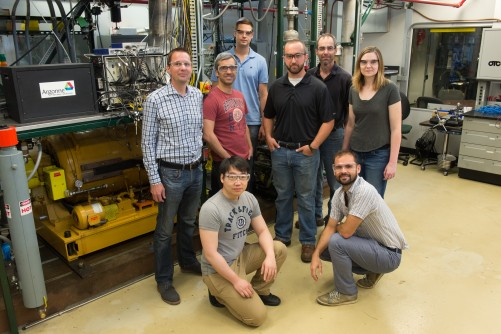 The research group includes, from left to right, kneeling: Anqi Zhang and Lorenzo Bartolucci; standing: Thomas Wallner, Riccardo Scarcelli, Michael Pamminger, Jim Sevik, Tim Rutter, and Carrie Hall.