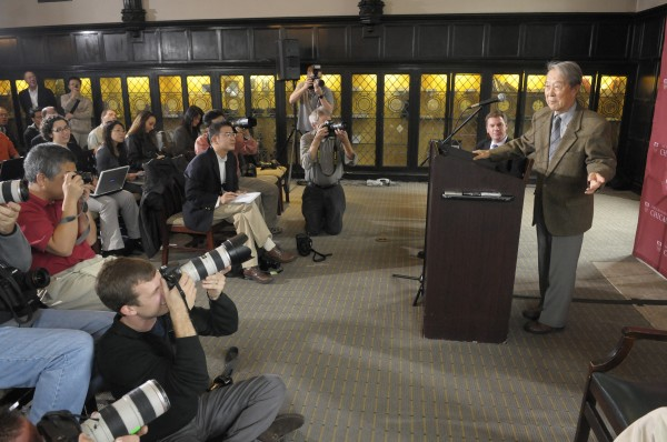 Prof. Yoichiro Nambu addresses the media at a Oct. 7, 2008 news conference honoring his Nobel Prize in Physics.
