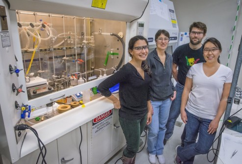 From left, Rebecca Abergel, Stacey Gauny, Manuel Struzbecher-Hoehne, and Dahlia An are four of the co-authors of a new paper on the biological chemistry of radioactive metals.