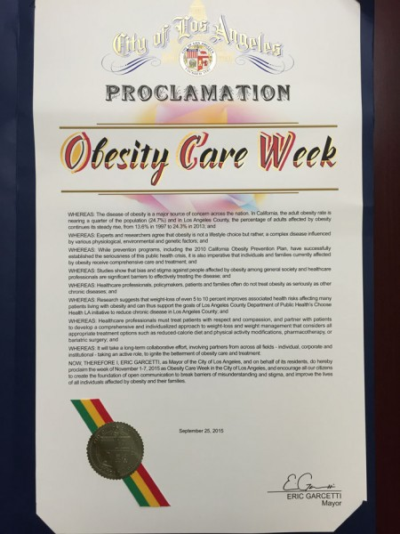 Los Angeles Mayor Eric Garcetti issued a proclamation that names November 1- 7, 2015 as Obesity Care Week