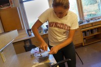 NMSU <a href='/news/tags/-Chemistry'>chemistry</a> student Danielle Peltier works on her chocolate recipe at Gerald Thomas Hall as part of her research project studying whether chocolate...