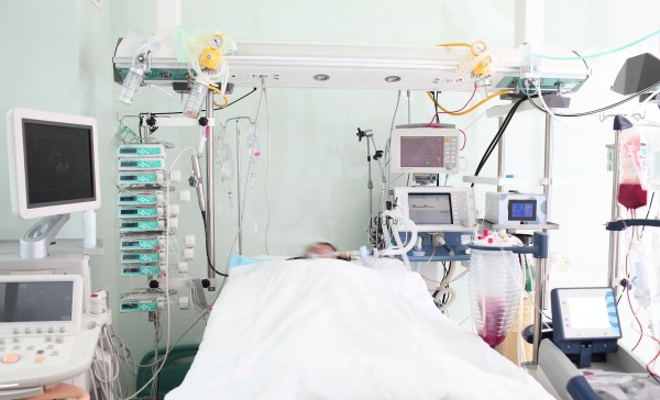 View of ICU with patient