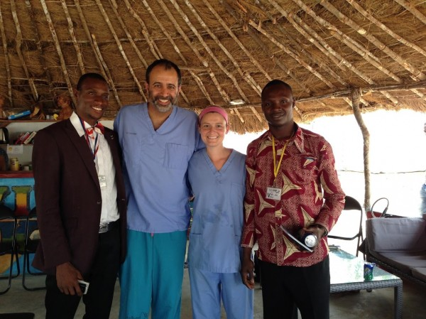 Shown is the leadership team at an Ebola treatment unit (ETU) in Port Loko, Sierra Leone, in 2015. From the left: Usman Koroma, Indi Trehan, MD, Cecilia Rose English and Francis Gaima. Usman and Francis headed the Sierra Leonean clinical team; Trehan, of Washington University, and English led the ETU and the Partners In Health team.
