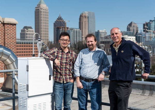Georgia Tech researchers have found that the pH of atmospheric sulfate particles is lower than expected. Shown (l-r) are Georgia Tech graduate student Hongyu Guo, Professor Rodney Weber from the School of Earth & Atmospheric Sciences and Professor Armistead Russell from the School of Civil and Environmental Engineering.
