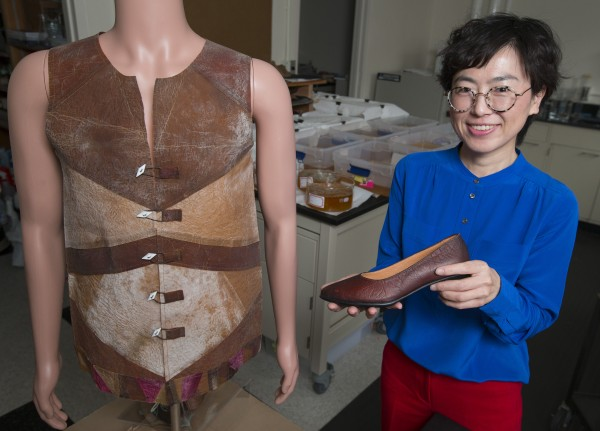 Young-A Lee and her research team have designed a vest and shoe prototype from the cellulosic fiber grown in this lab.