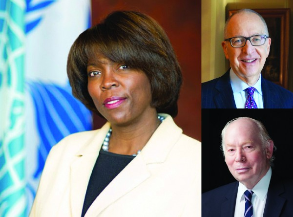 Ertharin Cousin, Executive Director of the United Nations World Food Programme, to serve as 2016 Rensselaer Commencement Speaker. Cousin to be joined by Secretary of the Smithsonian Institution Dr. David Skorton (top photo) and acclaimed physicist and Nobel laureate Dr. Steven Weinberg (bottom right photo) for the President's Commencement Colloquy May 27.