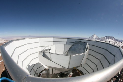 A view of the Atacama Cosmology Telescope (ACT) in Chile's High Atacama Desert. ACT, in operation since 2006, has take measurements of the cosmic microwave background and of massive galaxy clusters.