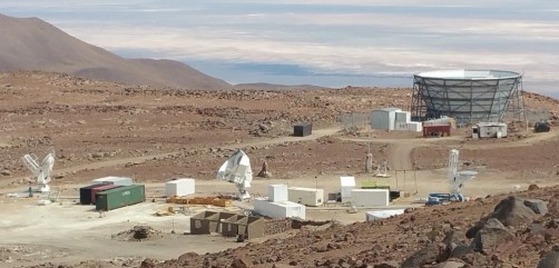 The Simons Array will be located in Chile's High Atacama Desert, at an elevation of about 17,000 feet. The site currently hosts the Atacama Cosmology Telescope (bowl-shaped structure at upper right) and the Simons Array (the three telescopes at the bottom left, middle and right). The Simons Observatory will incorporate several new telescopes and set the stage for a next-generation experiment.