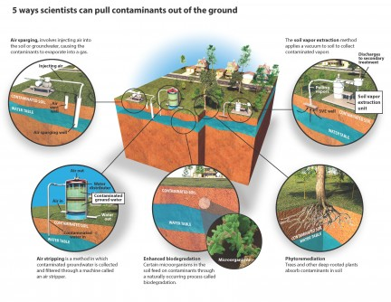 Several different remediation processes are available to clean up soil, varying in efficiency, cost and sustainability for specific site conditions. When officials suspect a site is contaminated, they conduct an assessment to determine the pollutant, the extent of contamination and the appropriate method to remediate the soil.