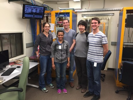 sPHENIX member Anne Sickles, left, with some of her students at the University of Illinois at Urbana-Champaign who helped to build components for a prototype electromagnetic detector: postdoctoral fellow Vera Loggins, graduate student Mike Phipps, and undergraduates Simon Li and Michael Higdon (Photo credit: University of Illinois)