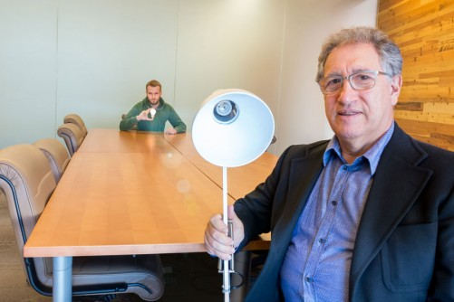 Argonne scientists Ivan Sadovskyy (left) and Valerii Vinokur published a paper showing a mathematical construction to a possible local violation of the Second Law of the Thermodynamics. One implication for the research could be a way to one day remotely power a device—that is, the energy expended to light the lamp could take place anywhere.
