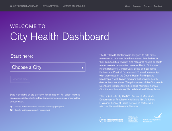 The City Health Dashboard web page