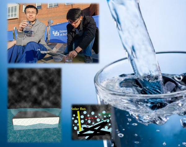 From the top left corner, moving clockwise, the four images depict: University at Buffalo students performing an experiment, clean drinking water, water evaporating, and black carbon wrapped around plastic in water with evaporated vapor on top evaporated water.