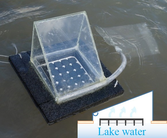 A floating solar still prototype that researchers used for some of experiments.