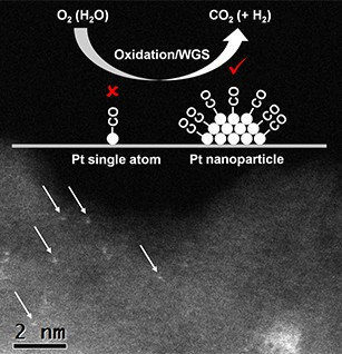 Scientists discovered that for carbon dioxide production (oxidation and water-gas shift (WGS)), the active sites are associated with platinum (Pt) nanoparticles, not single platinum atoms. The aberration-corrected high-angle annular dark-field image shows single platinum atoms in the wet-impregnated 1 wt% Pt/SiO<sub>2</sub>.