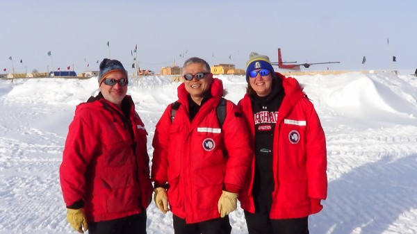 Former postdoctoral researcher David Ferris, South Dakota State University professor Jihong Col-Dai and doctoral student Kari Peterson work on the West Antarctica Ice Sheet Divide Ice Core project during the 2012 Christmas break. Ferris, now at Dartmouth College, is part of the drilling crew.