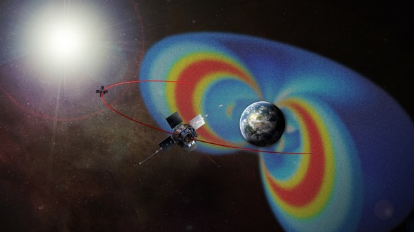 Van Allen Probes circle radiation belts. This artist's rendering of the Van Allen Probes mission shows the path of its two spacecraft through the radiation belts that surround Earth, which are made visible in false color.