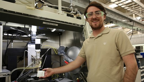 LLNL staff scientist Luke Thornley helped engineer the semisolid metal, a bismuth-tin mixture, that can be extruded through the nozzle of a specially-designed 3D printer