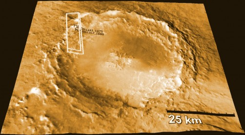 The Mojave Crater on Mars, which is believed to be the source of some Martian meteorites found on Earth, is pictured here in a rendering produced by the HIRISE camera on NASA's Mars Reconnaissance Orbiter.