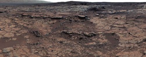 This mosaic of images from the Curiosity rover's Mast Camera shows evidence of ancient lake and stream deposits on Mars.