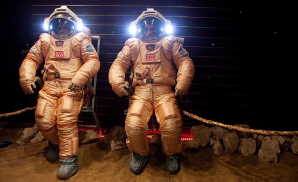 Crew members try out their spacesuits during a simulated mission to Mars at the Russian Academy of Sciences' Institute of Biomedical Problems (IBMP) in Moscow. Their training included a controlled feeding study led by Vanderbilt University's Jens Titze, M.D., to measure the long-term effects of a high-salt diet.