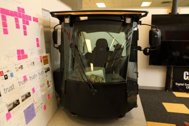 A replica of a cab used to test out ideas in the UIC Innovation Center.