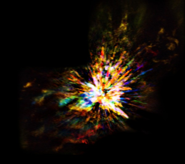 ALMA image of the OMC-1 cloud in Orion showing the explosive nature of star birth, when several young stars were ejected from the region. The colors in the ALMA data represent the relative Doppler shifting of the millimeter-wavelength light emitted by carbon monoxide gas.