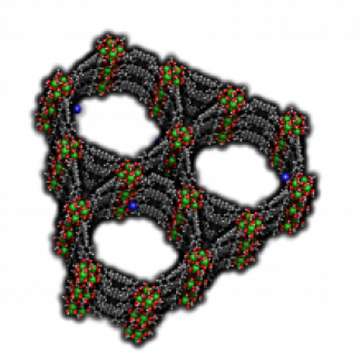 Hollow channels of a sponge-like metal-organic framework material.