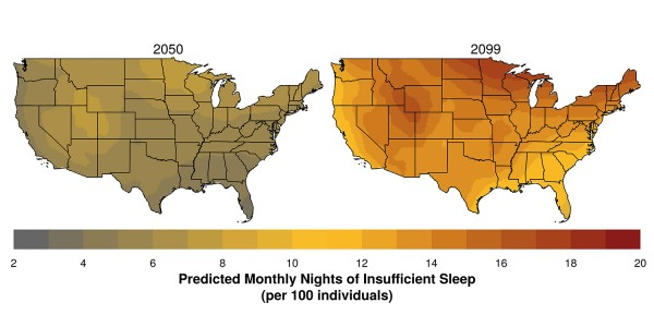 Areas of the western and northern United States – where nighttime temperatures are projected to increase most – may experience the largest future changes in sleep.