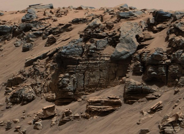Sedimentary rocks from three locations on lower Mount Sharp on Mars examined by NASA's Curiosity rover provide examples of different textures interpreted as sediments deposited at different depths within a long lived lake.