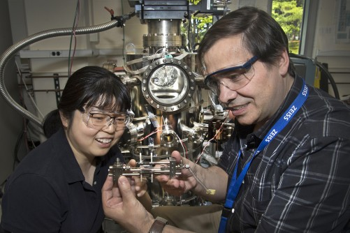 Brookhaven Lab chemists Ping Liu and José Rodriguez helped to characterize structural and mechanistic details of a new low-temperature catalyst for producing high-purity hydrogen gas from water and carbon monoxide.