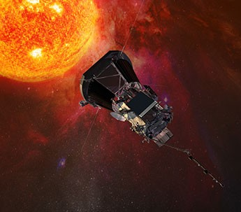 The solar panels are shown here on this artist rendering of Parker Solar Probe; they are the black squares with gray rectangles on the center of the spacecraft.