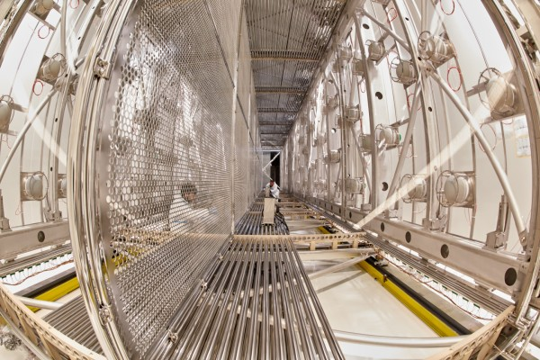 The ICARUS detector, seen here in a cleanroom at CERN, is being prepared for its voyage to Fermilab.