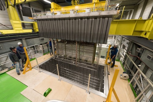 A prototype particle detector is being lowered into its cryostat at CERN, a major European partner on the Deep Underground Neutrino Experiment. Two SDSU mechanical engineering faculty members are modeling the flow of argon within prototype particle detector designs.