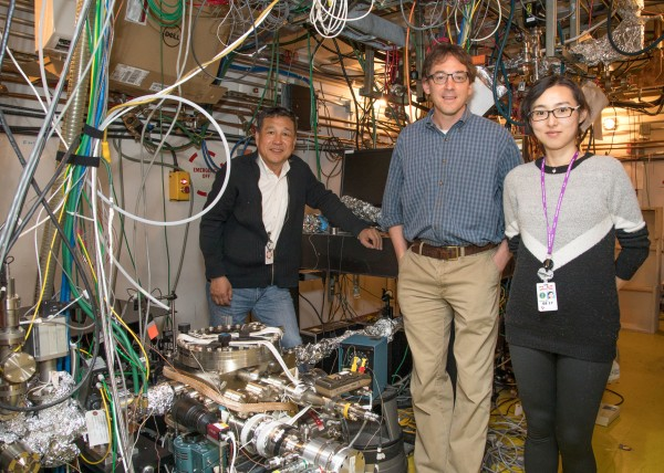 From left: SLAC researchers Xijie Wang, Aaron Lindenberg and Xiaoxi Wu at the lab's experimental station for ultrafast electron diffraction (UED).