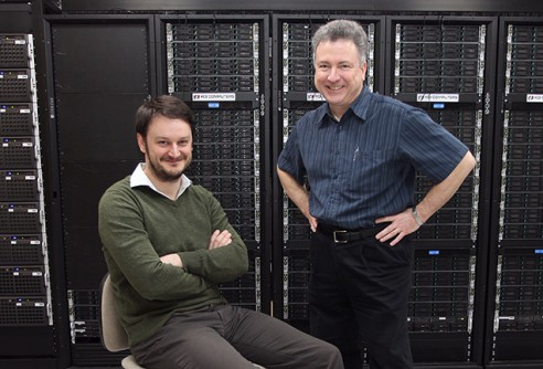 Jozef Dudek, Robert Edwards, and their collaborators performed calculations of the sigma particle using the Jefferson Lab LQCD cluster (shown), the Titan supercomputer at the Oak Ridge Leadership Computing Facility, and the Blue Waters supercomputer at the University of Illinois at Urbana-Champaign.