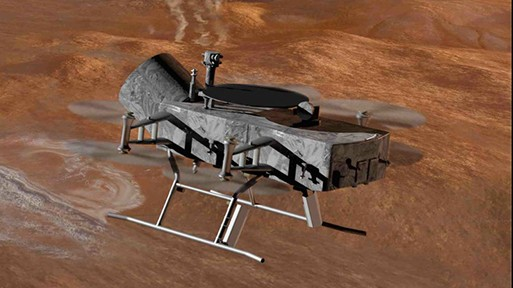 The Dragonfly dual-quadcopter, shown here in an artist's rendering, could make multiple flights to explore diverse locations as it characterizes the habitability of Titan's environment.