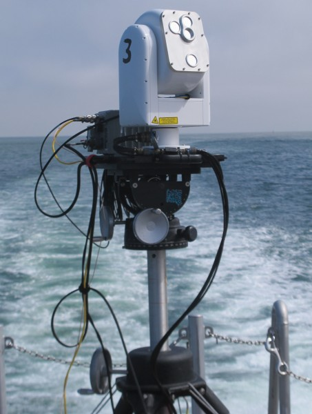 APL's compact free space optics system during ship-to-ship testing.