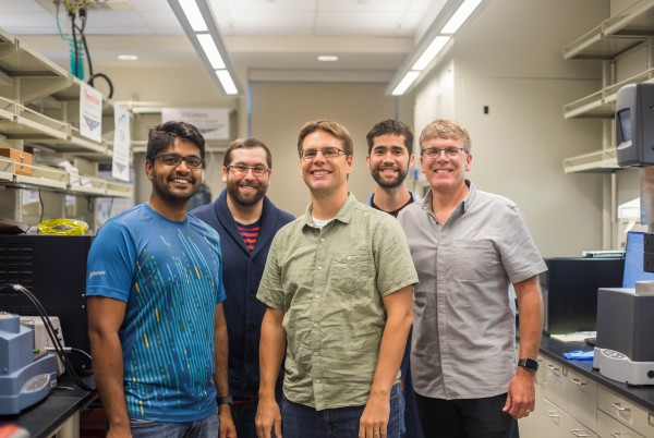 A team of Virginia Tech College of Engineering and College of Science researchers have 3-D printed a polymeric material that could find heavy use in space because of its thermal properties. The team includes (left to right) Viswanath Meenakshisundaram, Charles Carfagna, Christopher Williams, Justin Sirrine, and Timothy Long.
