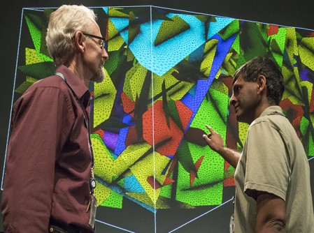 Carl Gable (left) and Hari Viswanathan (right) discuss R&D 100 finalist selection Discrete Fracture Network Modeling Suite (dfnWorks): Transforming simulations of flow and transport through fractured rock.