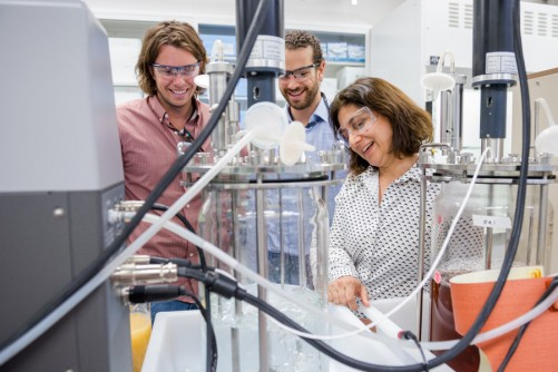Chain Reaction Innovation entrepreneurs Justin Whiteley and Tyler Huggins work with Argonne scientist Meltem Urgun-Demirtas in an Energy Systems Division laboratory to grow tunable, high-performance porous carbon from fungi.