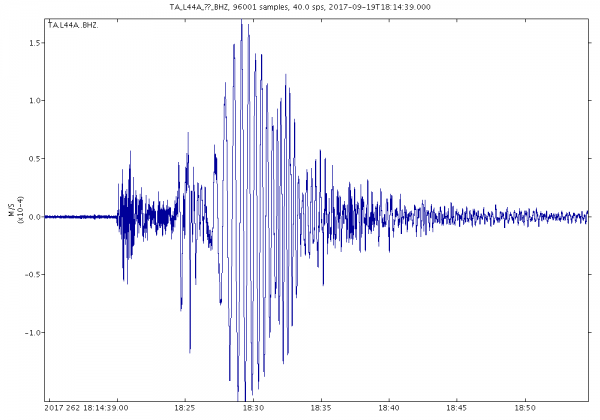 This image shows a recording of the earthquakes at one of Northwestern's seismometers, located in the Ryerson Conservation Area.