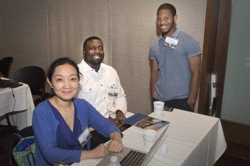 Lincoln University senior Rumeel Jessamy (middle) and recent graduate Ronald Lashley (right) with their computer science professor, Bo Sun. Jessamy and Lashley were among the 19 students that Brookhaven Lab hosted this summer through the National Science Foundation's Louis Stokes Alliances for Minority Participation program.