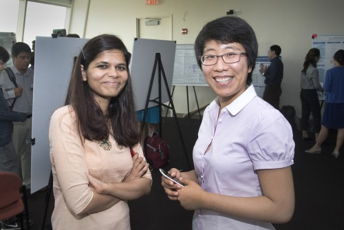 Stony Brook University students Shilpi Bhattacharyya (left), who is pursuing her doctorate in computer science, and Yaqi Zhang, who is pursuing her master's degree in applied mathematics, performed research at Brookhaven Lab's Computational Science Initiative this summer.