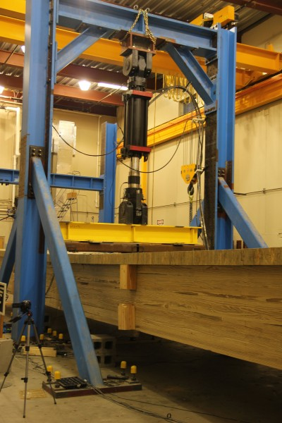 This full-scale timber girder bridge tested at the J. Lohr Structures Laboratory at South Dakota State University is 50-feet long and 9.5-feet wide.