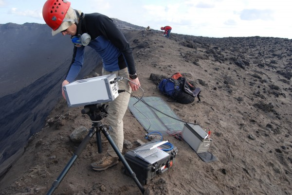 Simon Carn measures gas emissions from Mount Yasur in the island nation of Vanuatu in 2014.