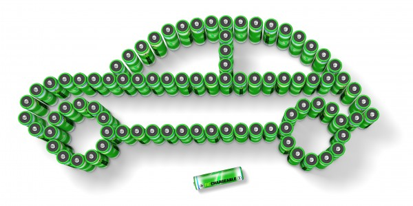 Rechargeable batteries are arranged in the shape of an automobile in this illustration.