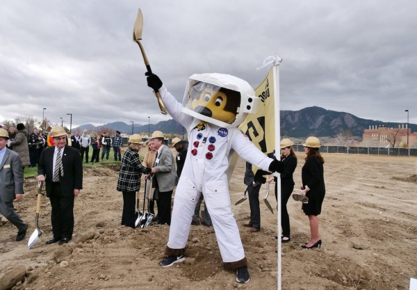 Mascot Chip poses for the camera at the Aerospace Engineering Science Building groundbreaking ceremony on the East Campus at the University of Colorado Boulder.