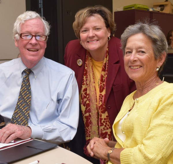 Pictured, from left: Ratcliffe Foundation Co-Trustee Jim Wright, SU President Janet Dudley-Eshbach and Carole Ratcliffe.