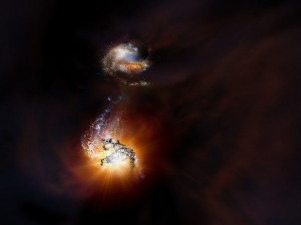 Artist impression of two starbursting galaxies beginning to merge in the early universe.